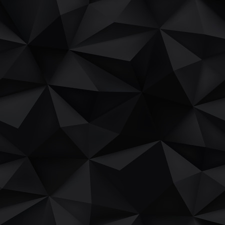brilliant: Black background. Abstract triangle mesh spiky prism texture. 3D low poly crumpled pattern vector illustration.