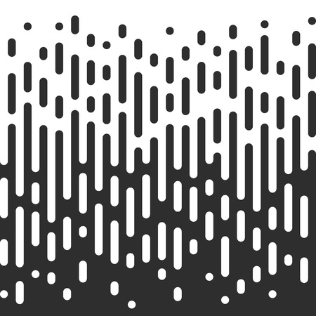 Vector Halftone Transition Effect Abstract Wallpaper Pattern. Seamless Black And White Irregular Rounded Lines Background.
