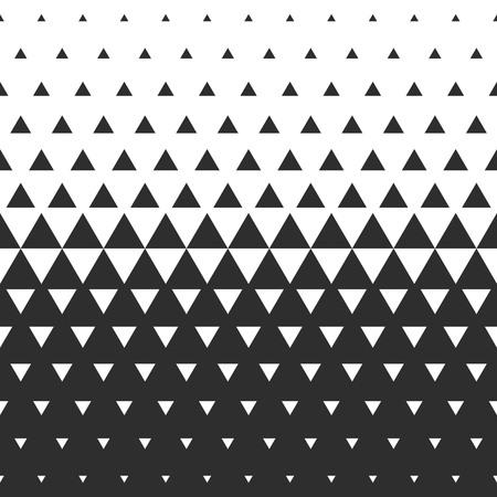 벡터 하프 톤 추상 전환 삼각형 패턴 벽지. 원활한 검은 색과 흰색 삼각형 기하학적 배경. 일러스트