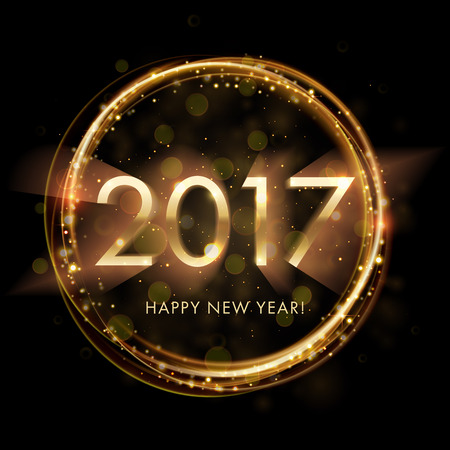 Gold New Year 2017 card. Happy New Year background with glowing sparkle circle. Stardust sparks in explosion on black background. Vector lens flare Illustration