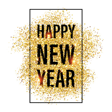 Gold glitter Happy New Year 2017 background. Happy new year glittering texture. Gold sparkles with frame. Chic glittering invitation poster and greeting card template for new year eve.