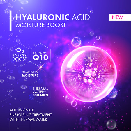 Hyaluronic Acid Moisture Boost. O2 collagen water molecule pink bubble drop. Skin care marine oxygen formula treatment design. Coenzyme anti wrinkle thermal water solution. Ilustração