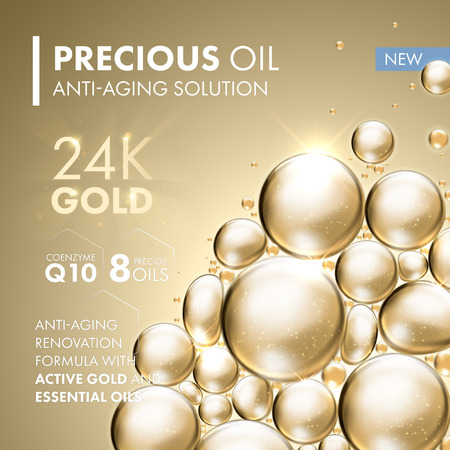 Golden pearl face mask anti-aging treatment solution. 24 Karat Gold oil bubbles on precious beige background. Design for skin care beauty products and cosmetic packaging.