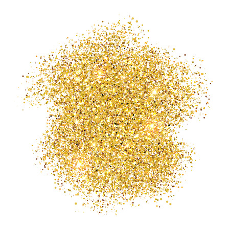 Gold glitter flare textured splatter background. New year golden texture. Gold sparkles spray. Chic glittering invitation poster and greeting card template for christmas and wedding.