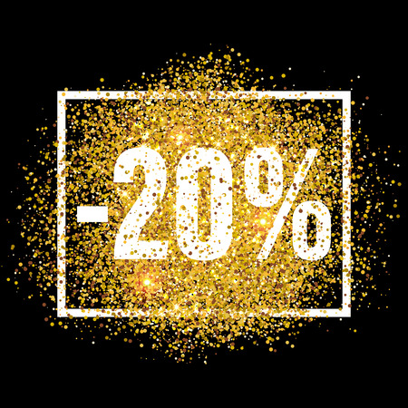 discount tag: Discount promo label. 20 percent sale promotion tag. New Year, Christmas shop offer. Golden glitter template for banner, poster, certificate. Gold glittering vector flares on black background.