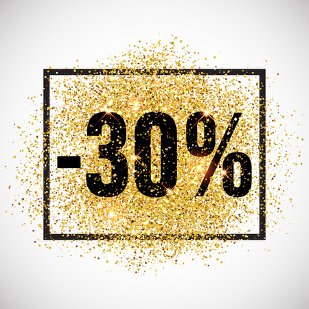 discount tag: 30 percent discount promotion tag. Promo sale label. New Year, Christmas offer. Golden glitter template for shop banner, poster, certificate. Gold glittering vector flares on white background.