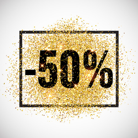 discount tag: 50 percent discount promotion tag. Promo sale label. New Year, Christmas offer. Golden glitter template for shop banner, poster, certificate. Gold glittering vector flares on white background.