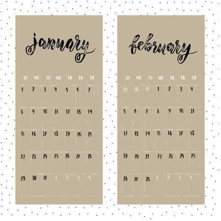weeks: Calendar for 2017 year. Page for January and February. Vector calendar with planner space. Hand drawn months, days of weeks and dates numbers. Vertical calendar grid sheet.
