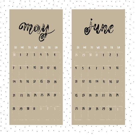 weeks: Calendar for 2017 year. Page for May and June. Vector calendar with planner space. Hand drawn months, days of weeks and dates numbers. Vertical calendar grid sheet. Illustration
