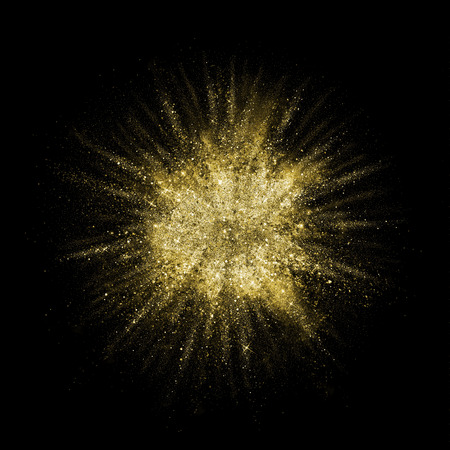 Golden color dust splash. Gold glitter powder explosion. Particles burst with golden texture for fashion background, luxury wallpaper. Magic mist glowing. Powdered vivid gold on black background.