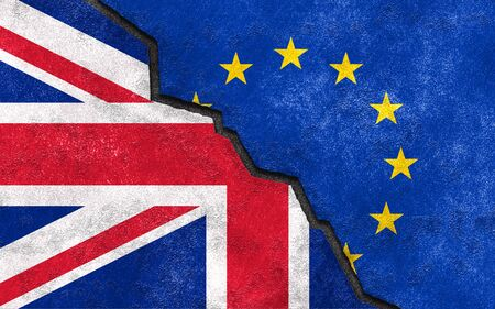 skeptical: Brexit. Great Britain exit of EU. Break symbol between United Kingdom and European Union flags. Referendum theme art illustration. Stock Photo