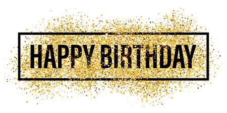 Happy Birthday greeting card. Gold glitter flare background. Shining golden sparkles. Stock Illustratie