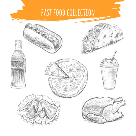 Fast food sketch. Snacks and desserts pencil art illustration. Hand drawn elements of tacos, hot dog, pizza, soda coke, milkshake, grilled chicken and wings.