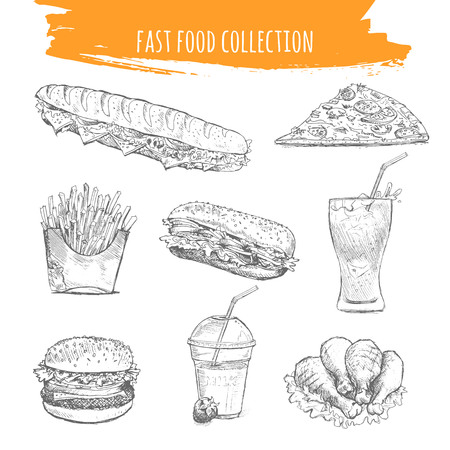 coke: Fast food set. Snacks and desserts sketch art illustration. Isolated pencil drawn elements of sandwich, pizza, french fries, burger, soda coke, cheeseburger, chicken legs.