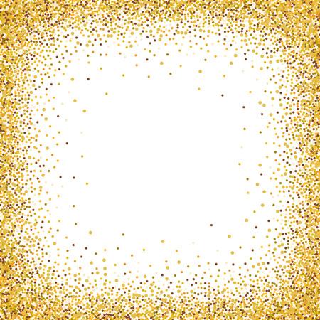 Gold-Glitter Konfetti Rahmen für festliche Grußkartenvorlage. Vector Urlaub Tapete mit Scheinen auf weißem Hintergrund.