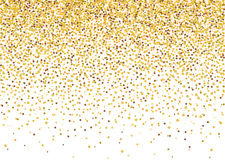 Gold glitter confetti frame for festive greeting card template. Vector holiday wallpaper with sparkles on white background. Vettoriali