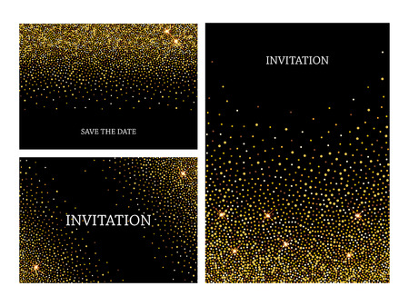 Invitation letters template with gold glitter confetti background. Festive greeting cards design for event