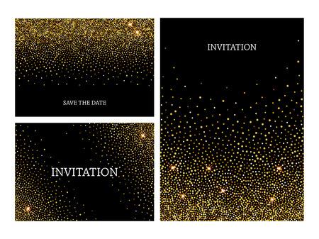 Modèle de lettres d'invitation avec fond de confettis brillant d'or. Conception de cartes de voeux pour l'événement