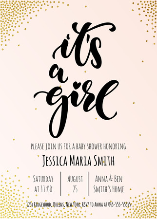 It's a Girl invitation party card template. Baby shower celebration design. Hand drawn calligraphy classic lettering.