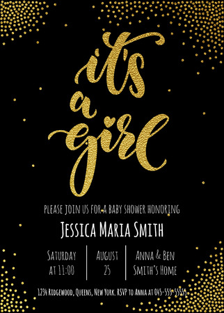 it's: Its a Girl invitation party card template. Hand drawn golden calligraphy classic lettering. Baby shower celebration gold glitter design.