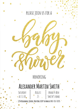 pen and marker: Baby Shower invitation card template. Classic golden calligraphy vector lettering. White background with gold glittering polka dot decoration. Illustration