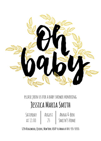 handwritten: Baby Shower invitation card template. Classic black calligraphy vector lettering. White background with golden glittering floral pattern decoration. Illustration