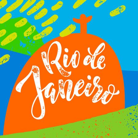 redeemer: Rio De Janeiro poster. Hand drawn calligraphy vector lettering on background of Christ the Redeemer and Sugarloaf with brazilian flag colors. Art for sport events, concerts, banners and souvenirs. Illustration