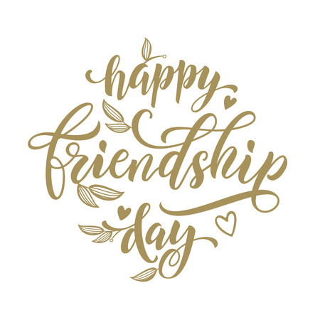 artisitc: Happy Friendship Day artisitc lettering for friends greeting card. Hand drawn vector calligraphy. Floral leaves and hearts pattern poster.