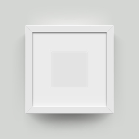 Square blank picture frame for photographs. Vector realisitc paper or plastic white picture-framing mat with wide borders shadow. Isolated picture frame mockup template on wall background Иллюстрация