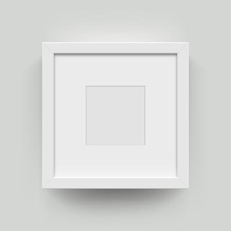 Vierkant leeg fotolijstje voor foto's. Vector realisitc papier of plastic wit beeld-framing mat met brede randen schaduw. Geïsoleerde omlijsting mockup template op muurachtergrond