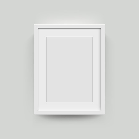 Fotolijstje voor foto's. Vector realisitc papier of plastic wit beeld-framing mat met brede randen schaduw. Geïsoleerde omlijsting A3, A4 verticaal mockup sjabloon op grijs Stockfoto - 61153377