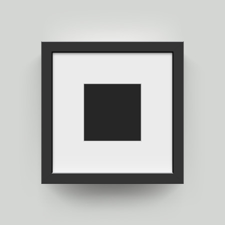 square frame: Square blank picture frame for photographs. Vector realisitc paper or plastic white picture-framing mat with wide black borders shadow. Isolated picture frame mockup template on wall background