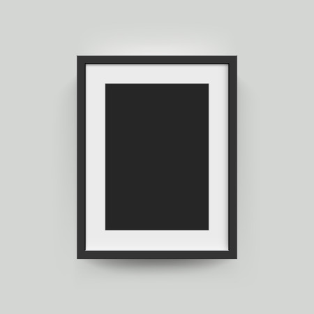 Picture frame for photographs. Vector realisitc paper or plastic white picture-framing mat with wide black borders shadow. Isolated picture frame A3, A4 vertical mockup template on gray Illustration