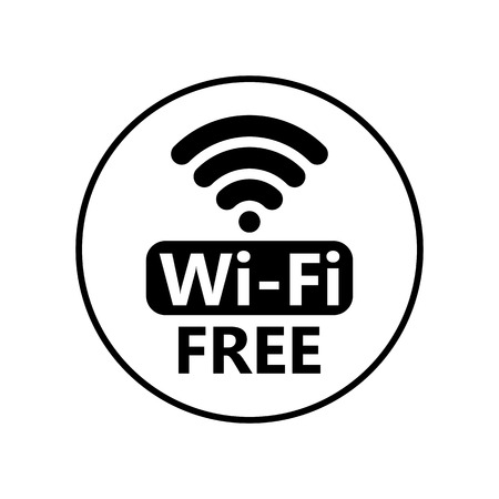 Free wifi icon sticker. Vector black wifi sign. Wireless Network icon for wlan free access design Çizim