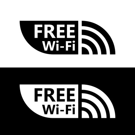 wifi access: Free wifi icon. Wireless hotspot symbol. Vector free w-ifi sign with black and white background. Wireless Network icon for wlan free access design