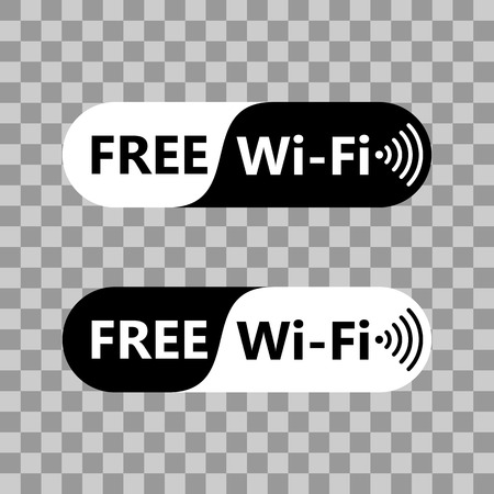 wlan: Free wifi icon symbol. Vector wifi sign with black and white background. Wireless Network icon for wlan free access design on transparent background
