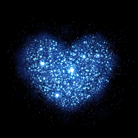 blue star background: Blue glitter particles in heart shape. Sparkling diamond texture. Star dust glittering sparks in explosion on black background. Vector love saint valentine greeting card