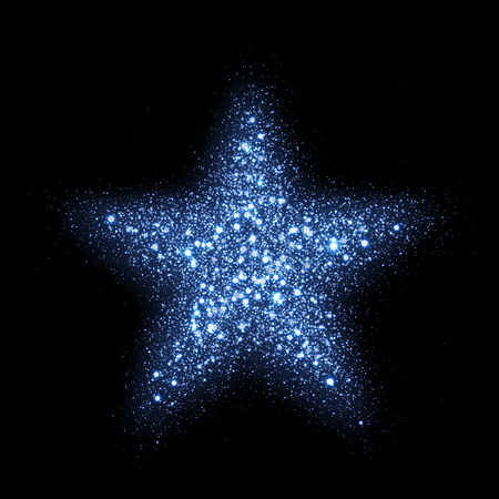 diamond texture: Blue glitter particles in star shape. Sparkling diamond texture. Star dust glittering sparks in explosion on black background. Vector neon christmas, new year symbol Illustration