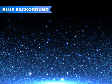 glitter background: Vector blue glitter particles background effect for luxury greeting rich card. Sparkling texture. Star dust sparks in explosion on black background Illustration