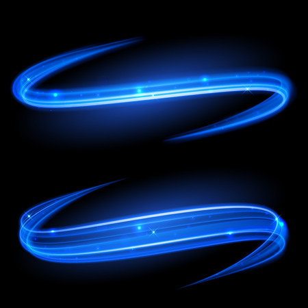 Vector blue magic glowing light swirl trail trace effect on black background. Bokeh glitter fire spark spiral wave line with flying sparkling flash lights