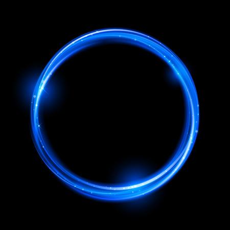 Blauw neon magische gloeiende licht. Glow werveling effect golf. Glitter magic fonkelingswerveling trail effect op transparante achtergrond. Bokeh glitter rondje golf lijn met vliegende fonkelende flitslichten