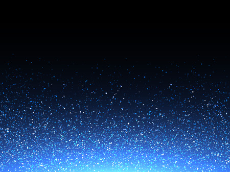 Blue glitter spray texture background. Vector glittering particles of crystal snowflakes on black. Cosmic light shine dispersion Vectores