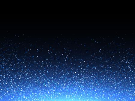 pulverizador: purpurina aerosol textura de fondo azul. Vector brillante partículas de copos de nieve cristalinos en negro. dispersión de luz brille cósmica