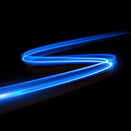Vector blue light trace effect. Glowing spark zig zag swirl trail tracing effect on black background. Neon blue glitter fire wave line with flying sparkling flash lights