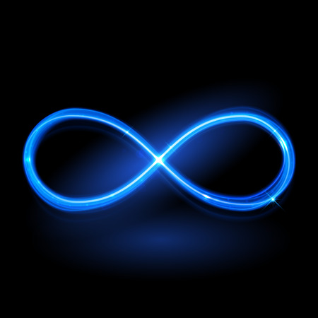Vector blue magic glowing light infinity sign swirl trail on black background. Blue neon glitter fire spark spiral wavy line