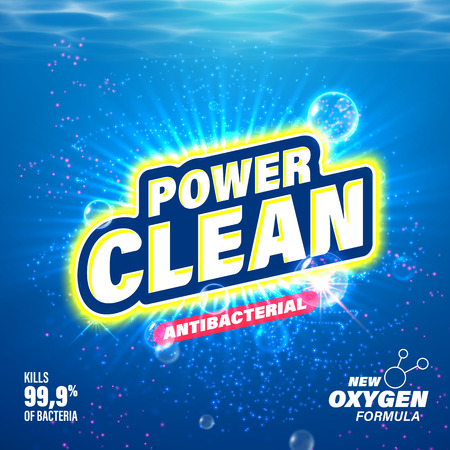 Antibacterial: Laundry detergent package design. Toilet and bathroom tub cleanser. Washing machine soap powder vector packaging template. Power Clean with oxygen acitve substance Illustration