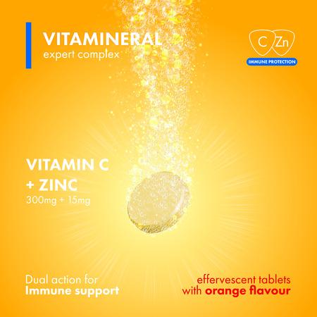 Bruisende oplosbare tablet pillen. Vitamine C plus Zink oplosbare pillen met sinaasappelsmaak in water met sprankelende bruisende bubbels parcours. Vitamineral complex pacakge ontwerp met citrus gele achtergrond