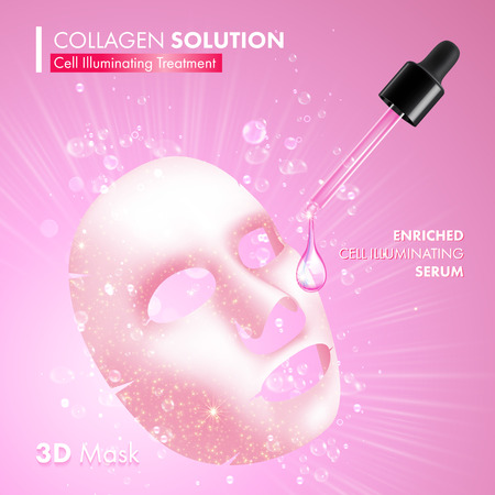 enriched: Collagen facial 3D mask package design. Cell illuminating treatment solution. Enriched moisturizing snail serum for women with dropper on pink background