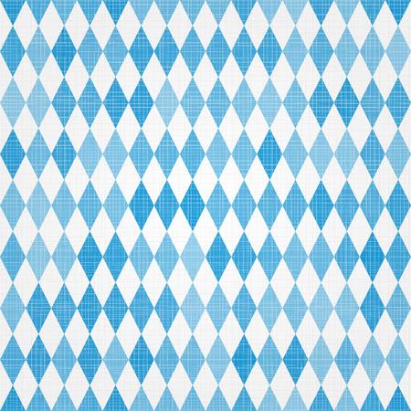 Oktoberfest traditional Bavarian linen flag background. Vector blue and white seamless Bavarian pattern Illustration