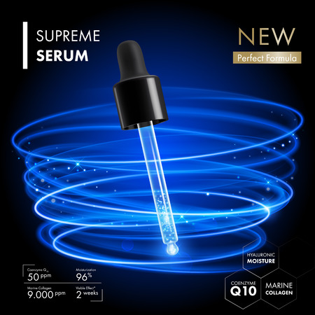 コラーゲン コエンザイム Q10 エッセンス血清スポイト。プレミアム コラーゲン肌ケア デザイン ネオン ブルー ライト リングの背景を持つ。スキン